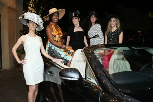 Cindy Swinford,Shamequia I in Abi Ferrin)Cason,Judith Aronson,Mary Bentley and Roxanna Redfoot ( In binzario Couture)modeling Derby hat styles by Terry Costa. Photo by Bob Manzano.