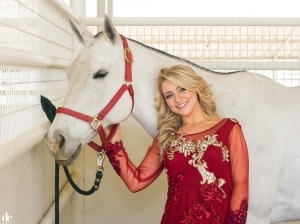 Amber Smith as captured by Danny Campbell at Prestonwood Polo Club wearing Ruby Bhandari.