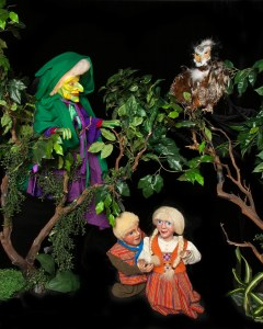 Witch stalking Hansel and Gretel in the woods. Photo by Mark Oristano.
